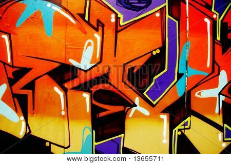 bunt, lebendige, illegale Graffiti-Tag in brighton