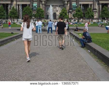 People At Berliner Dom In Berlin
