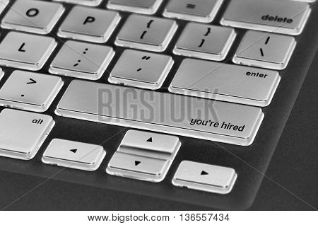 Keyboard  Button Written Word You're Hired