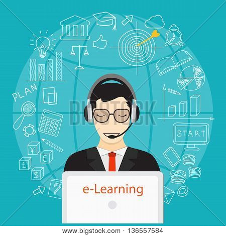 Flat modern design vector illustration concept of business online education e-learning with man laptop headphone and hand drawn symbols. eps 10