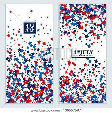 American Happy Independence Day banners set in traditional colors - red, white, blue.