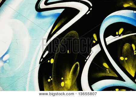blue and black graffiti, abstract and colorful