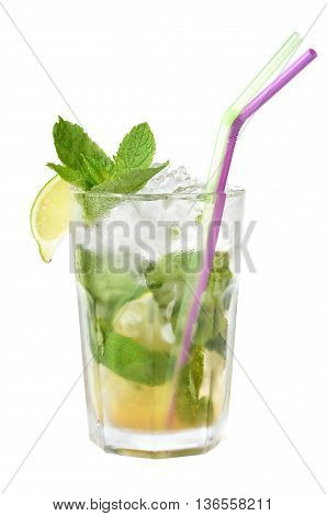 Fresh Cold Traditional Mojito Cocktail isolated on white