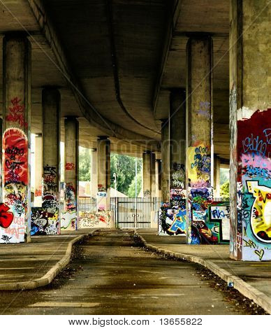Impressive graffiti in derelict concrete urban location