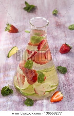 Nutritious detox water with lime mint and strawberry