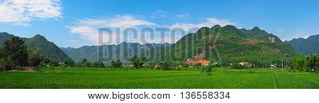 Beautiful panorama in Mai Chau Valley North Vietnam Southeast Asia