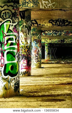 Colorful selective focus graffiti concept