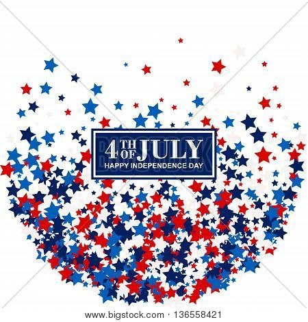 4th of July festive greeting card with scatter stars in traditional American colors - red, white, blue. Isolated.