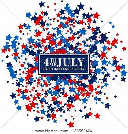 4th of July festive poster with scatter stars in traditional American colors - red, white, blue. Isolated.