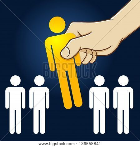 Vector stock of hand picking the best people from the line