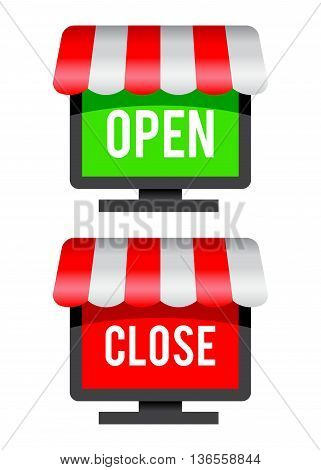 Vector stock of open and close online shopping icon