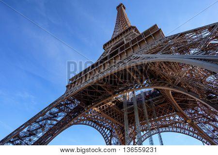 Close-up view on Eiffel's Tower, Paris, France