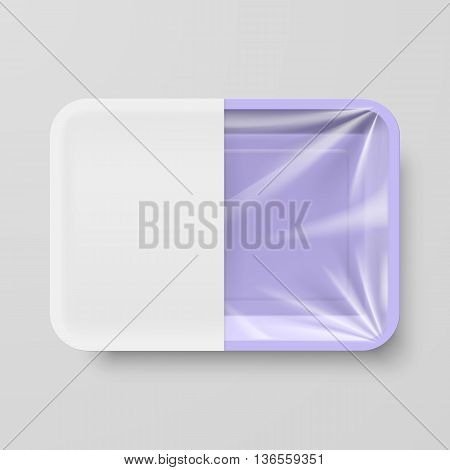 Empty Purple Plastic Food Container with White label on Gray Background