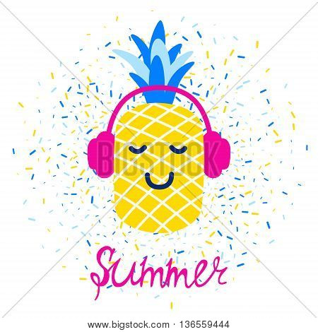 Vector bright summer greeting card with pineapple in headphones and lettering.