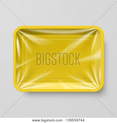 Empty Yellow Plastic Food Container on Gray
