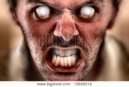 Evil halloween face concept. Scares kids easily, and has been tested. Depth of field located very shallow to create a dramatic image