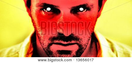 A harrowing image of a scary devil like face. Great halloween concept