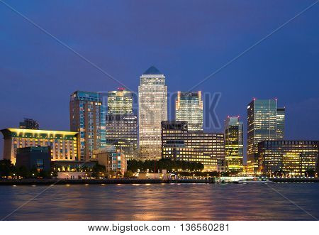 LONDON, UK - OCTOBER 17, 2014: Canary Wharf business and banking aria and first night lights