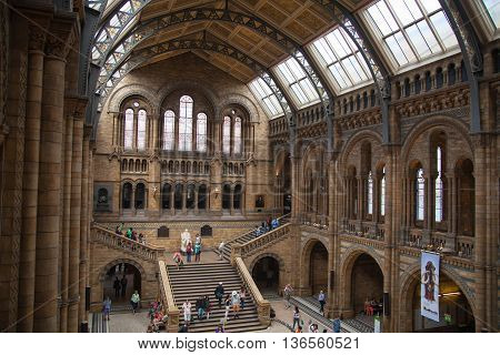 LONDON, UK - AUGUST 11, 2015: National History Museum, is one of the most favourite museum for families in London.