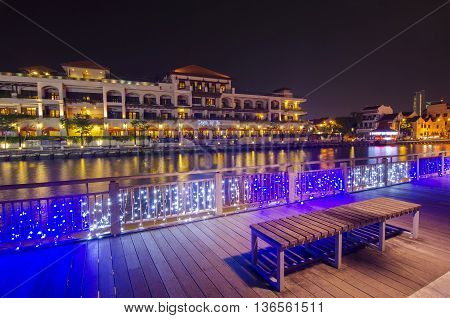 MALACCA MALAYSIA - March 7 2016: Beautiful night view at Malacca riverside. Malacca City is the capital city of the Malaysian state of Malacca. It was listed as a UNESCO World Heritage Site on 7 July 2008