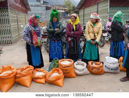 HA GIANG, VIETNAM, February 12, 2016 hmong women, highland Ha Giang, Vietnam, grain trading, markets Dong Van, Ha Giang