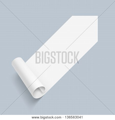 Illustration of White Paper Sticker with Scroll Coner on Blue