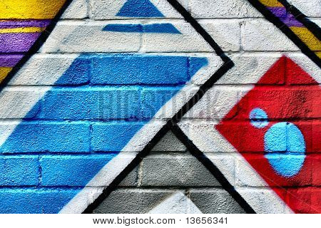 Graffiti image on brick wall