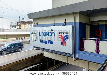 Bangkok Thailand - June 18 2016: Logo of The Bangkok Mass Transit System (BTS) at Bang wa district in Bangkok Thailand. It is an elevated rapid transit system in Bangkok.
