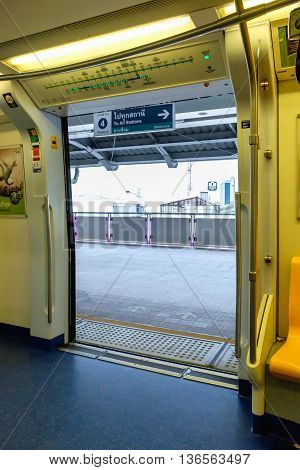 Bangkok Thailand - June 18 2016: Public Transportation in bangkok. Skytrain / BTS elevated rails in on Feb 27 2014 in Bangkok.