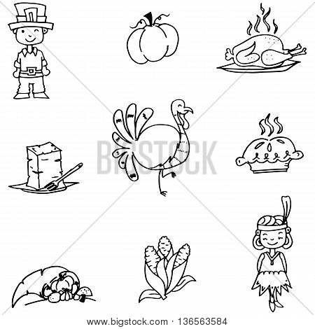 Element Thanksgiving in doodle vector art illustration