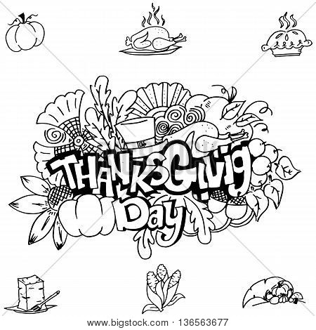 Thanks givig hand draw in doodle art on white backgrounds