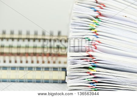 Pile Paperwork Of Report Have Blur Stack Notebook As Background