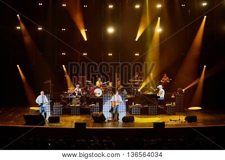 MOSCOW, RUSSIA - APR 24, 2015: Secret band performs on stage in Crocus city hall during musical show. Secret band presents concert program On any side of Earth.