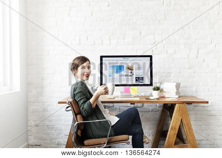 Woman Coffee Break Relaxation Resting Office Workplace Concept