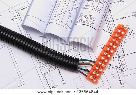 Corrugated Pipe And Electrical Cable With Connection Cube On Drawing