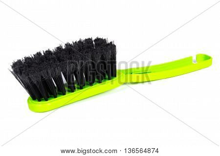 New Green Broom For Cleaning On White Background