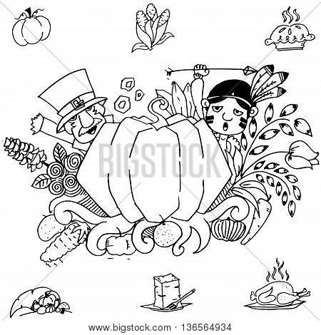 Doodle art thanksgiving pumpkins on white backgrounds