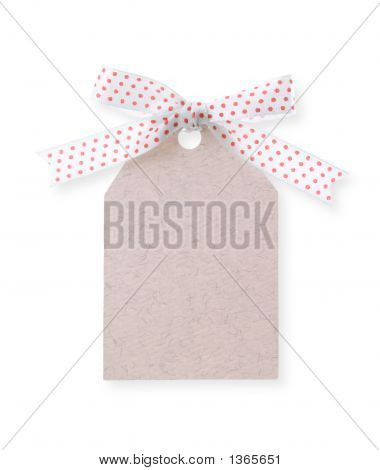 Abstract Pattern Gift Tag With Red Dot Ribbon(With Clipping Path)
