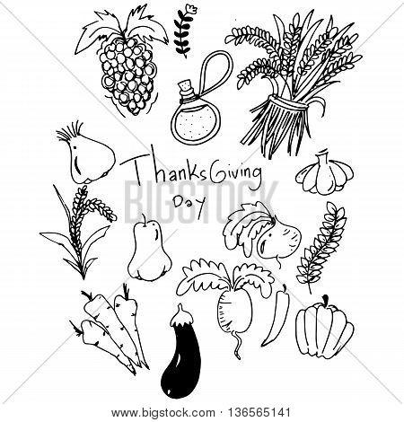 Thanksgiving vegetable in doodle vector art illustration