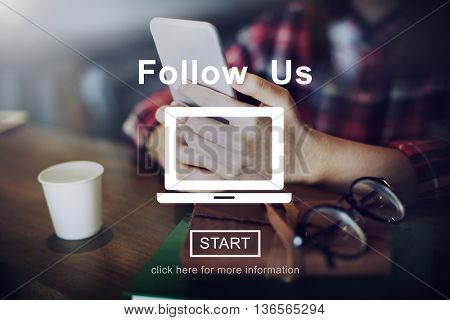Follow Us Online Website Social Media Technology Concept