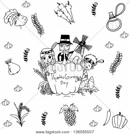 Thanksgiving doodle art element on white backgrounds