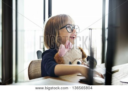 Kid Surfing Computer Internet Lifestyle Concept