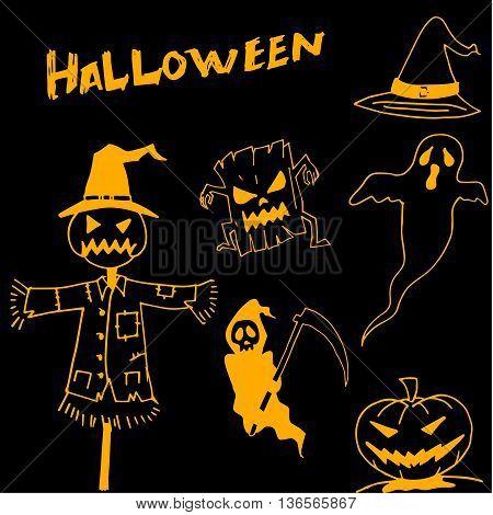 Character Halloween scarecrow pumpkins warlock in dooodle vector