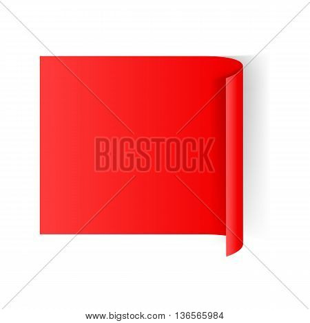 Illustration of Red Paper Notepad with Curling Edge