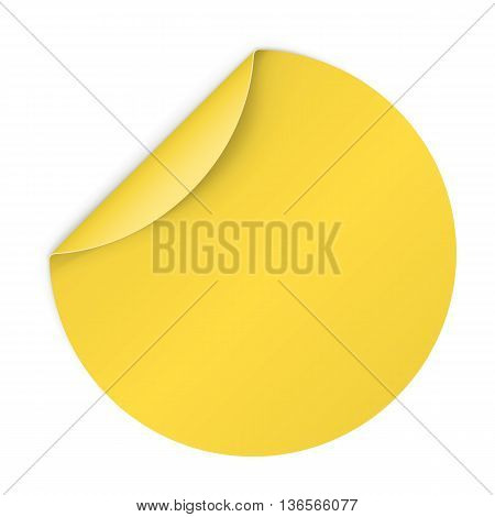Illustration of Yellow Paper Notepad in Circle Form with Bended Coner