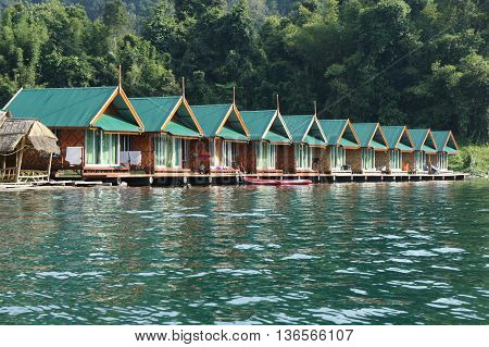 raft accommodation on water for tourist with nature