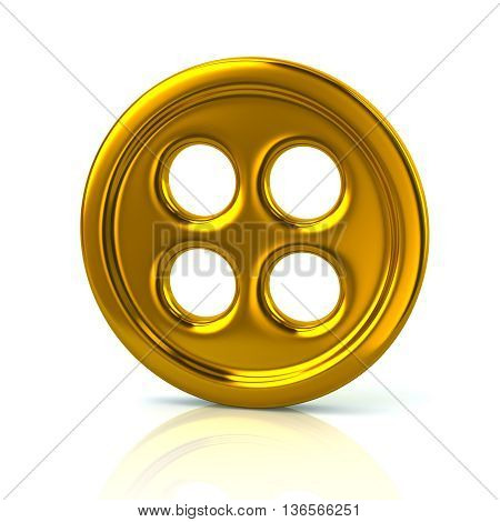 3D Illustration Of Golden Clothing Button