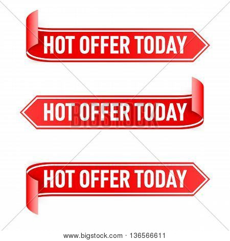 Set of Red Paper Stickers with White Strip