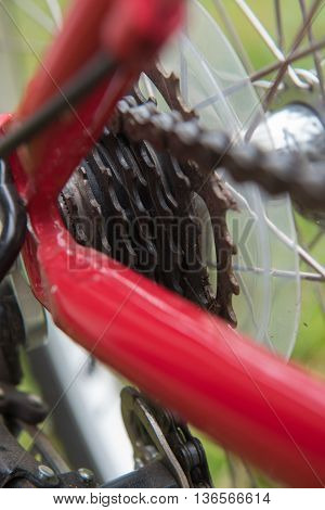 Bicycle parts. Gear bike, chain details. close-up.