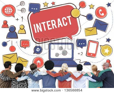 Interact Communicate Connect Social Media Networking Concept